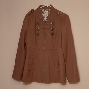 Zip Up Coat with Buttons and Pockets